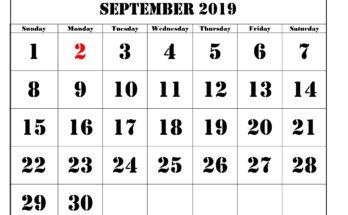 September 2019 Calendar Printable