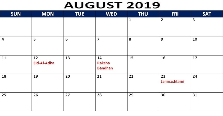 August 2019 Calendar With Holidays