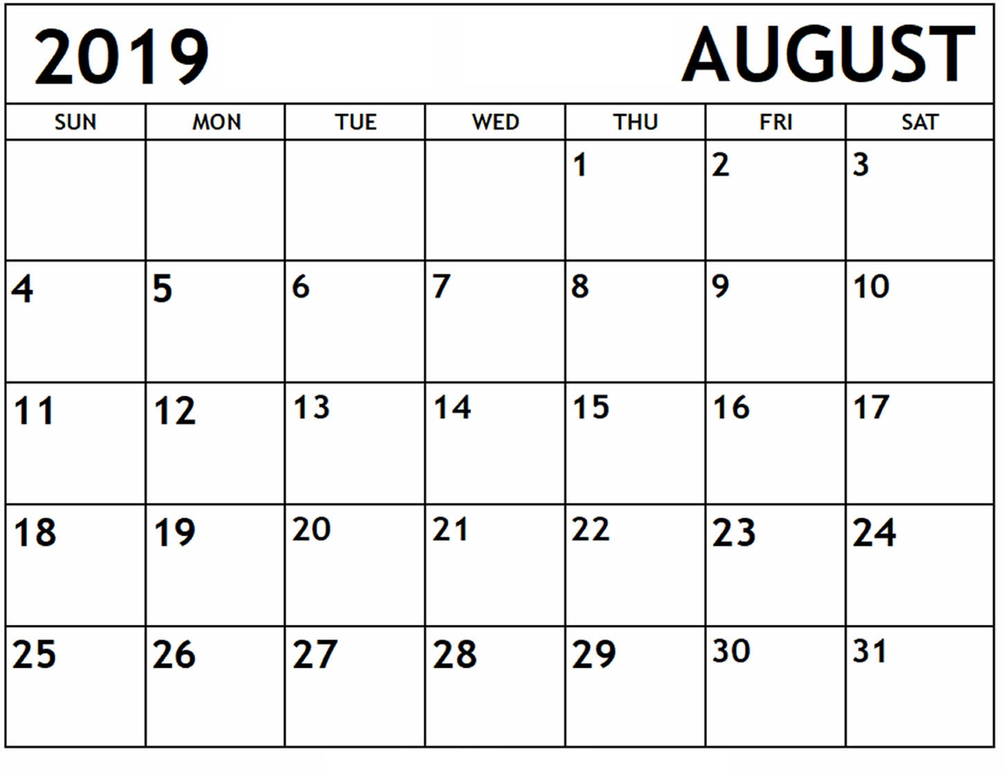 August 2019 Monthly Calendar PDF