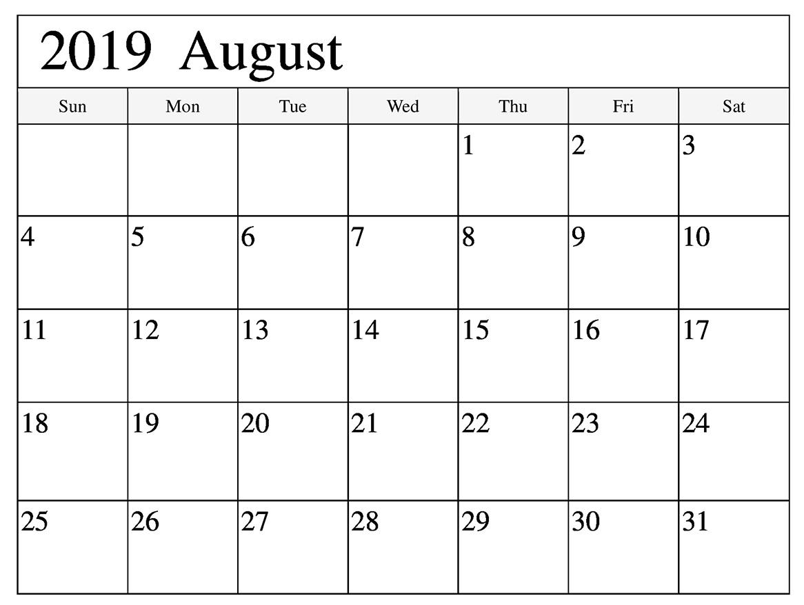 August 2019 Printable Calendar