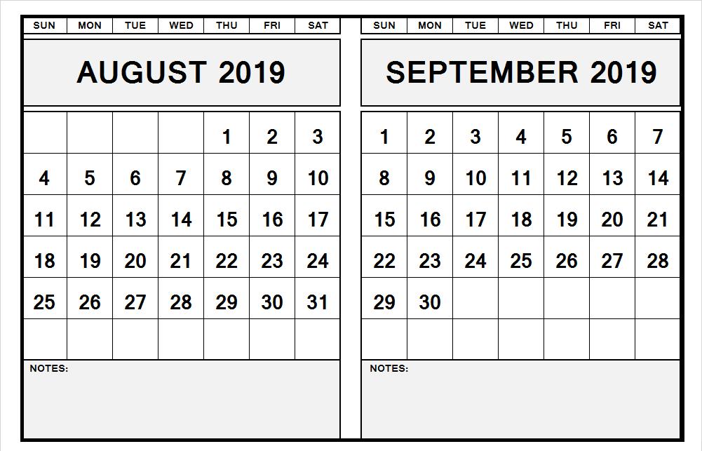 August September 2019 Calendar