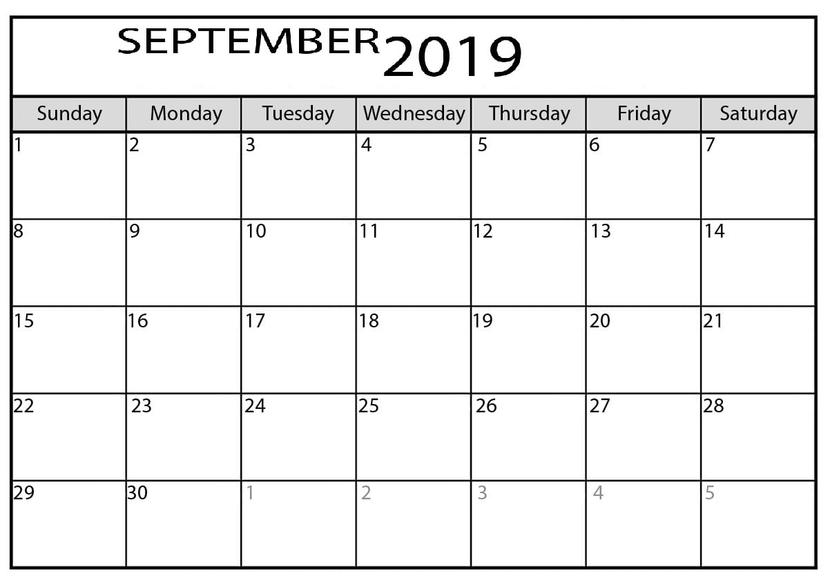 Calendar September 2019