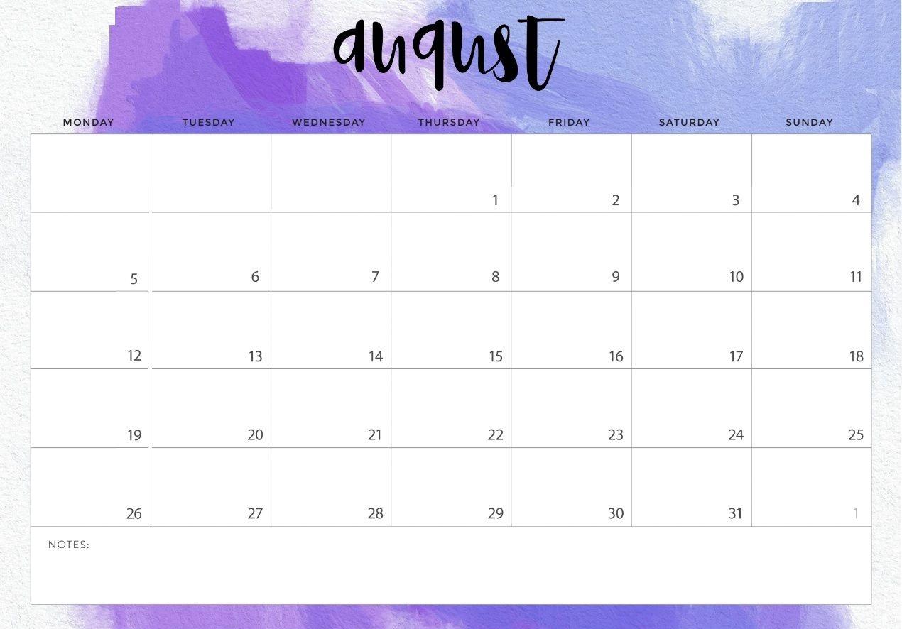 Cute August 2019 Calendar