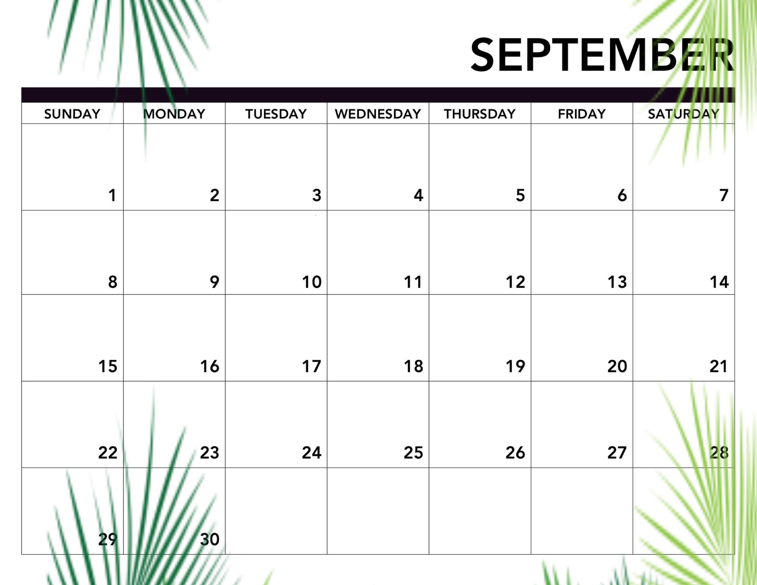 Cute September 2019 Calendar