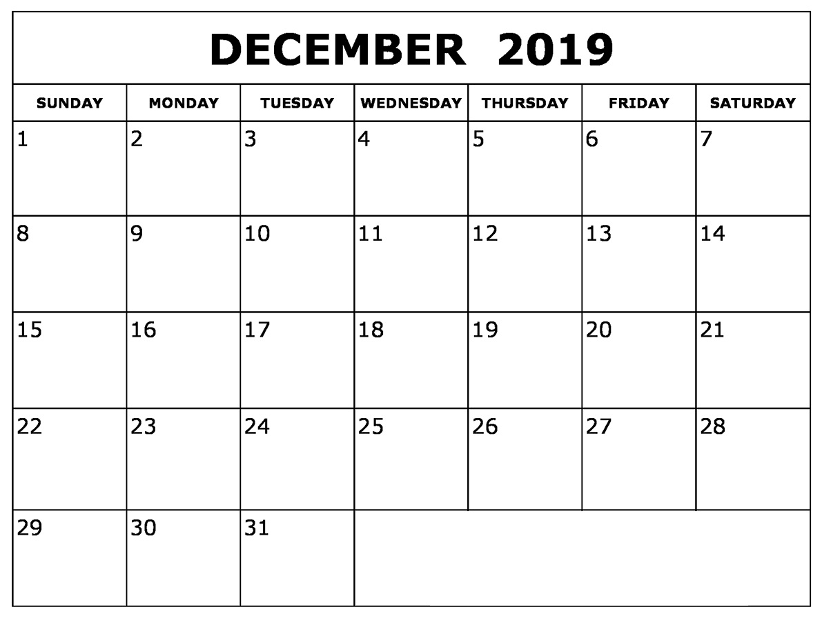 picture about Dec Calendar Printable known as December 2019 Calendar Printable Day-to-day, Month-to-month, Weekly