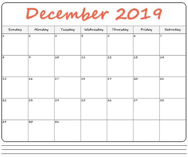 December 2019 Calendar Printable Design