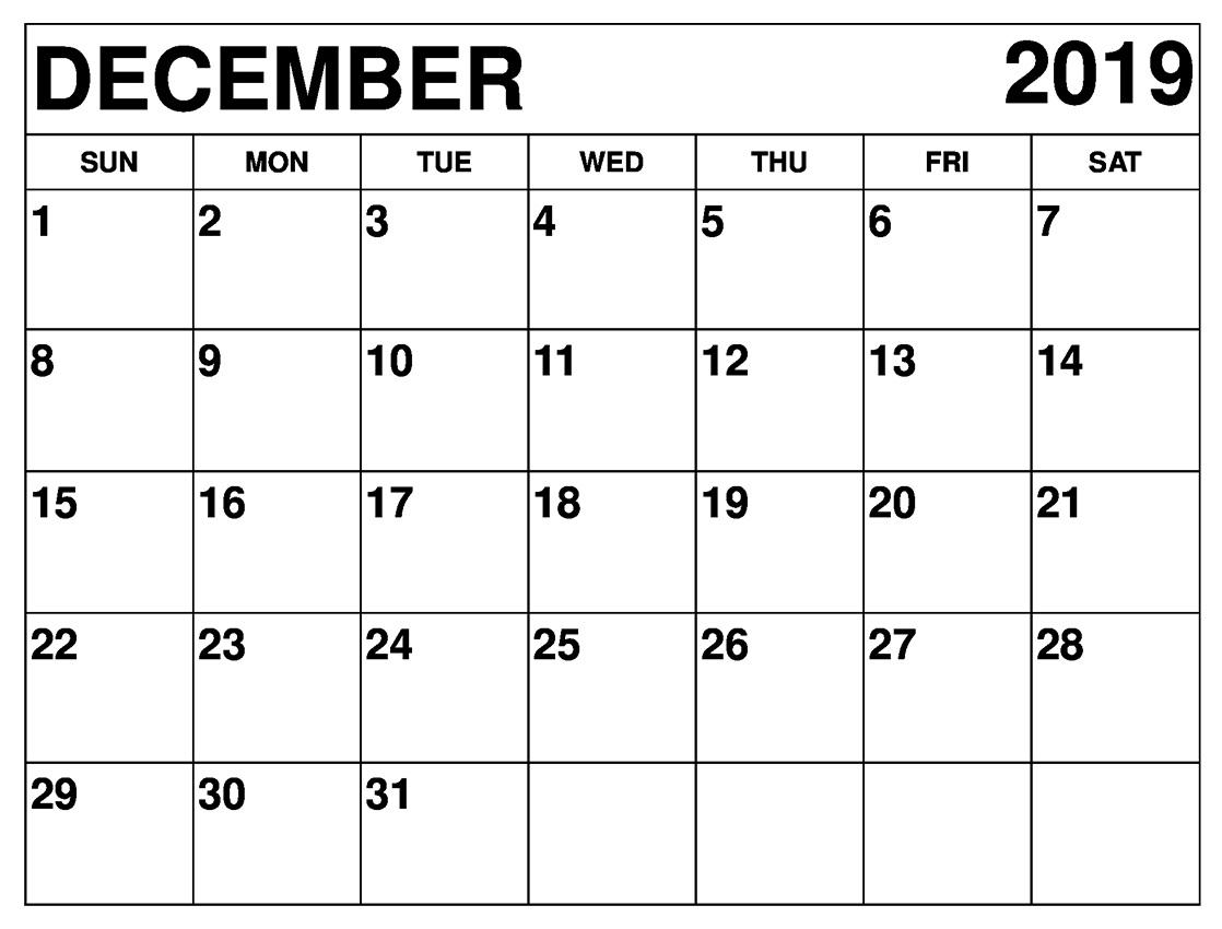 December 2019 Calendar Printable