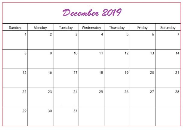 December 2019 Calendar Printable Large
