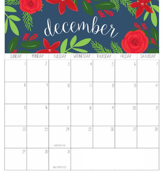 December 2019 Calendar Printable Portrait