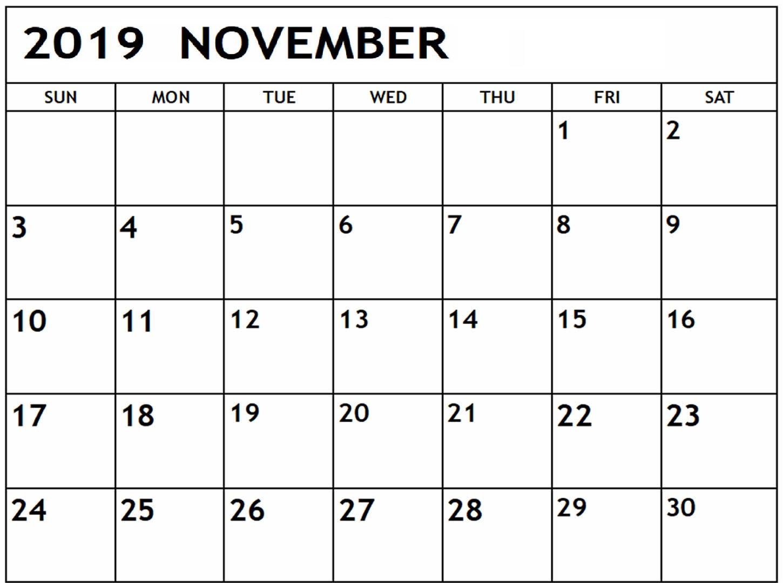 November 2019 Calendar Printable