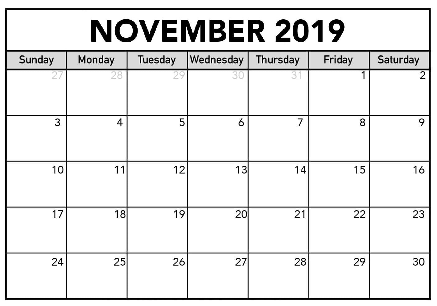 November 2019 Calendar PrintableNovember 2019 Calendar Printable