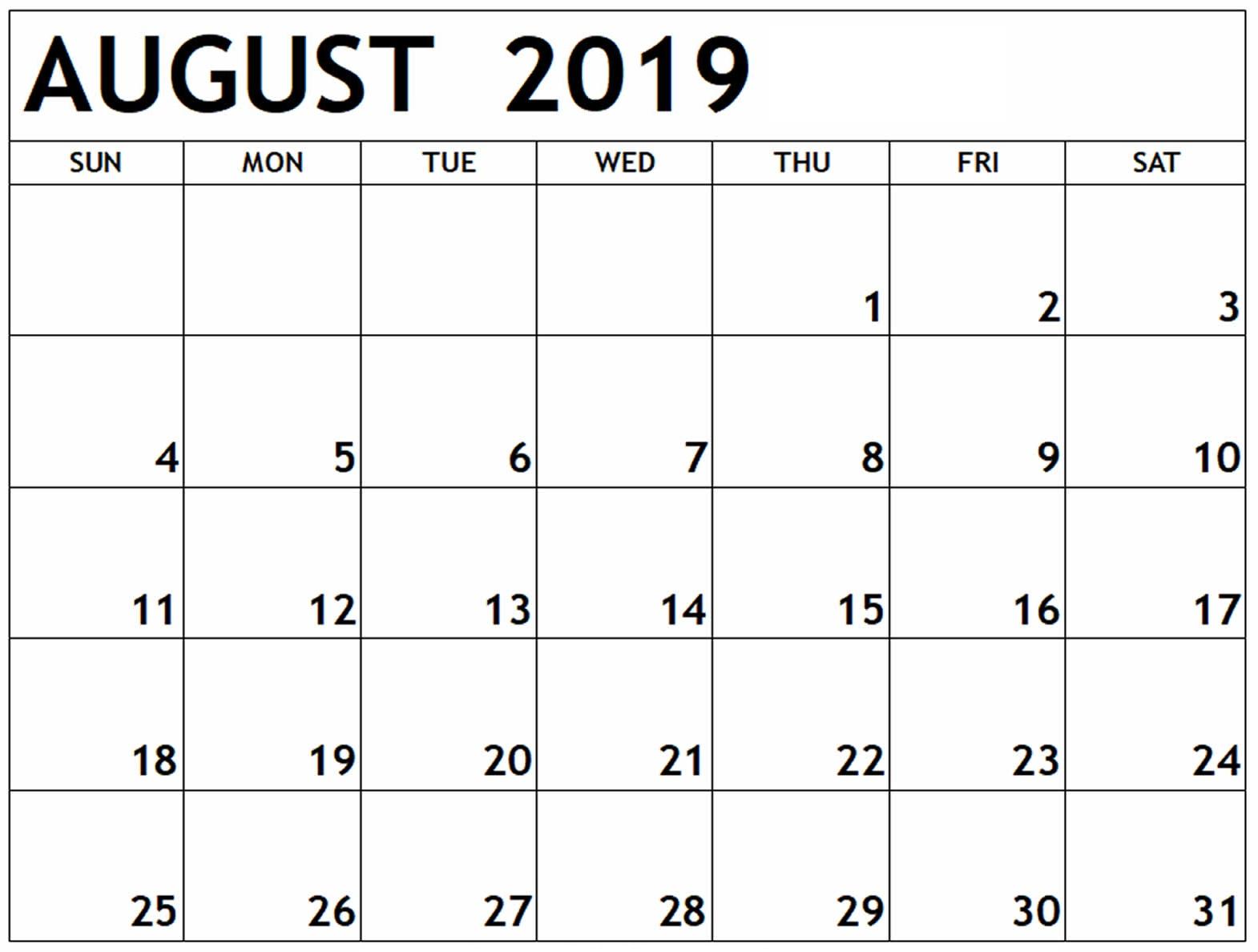 Printable Calendar August 2019