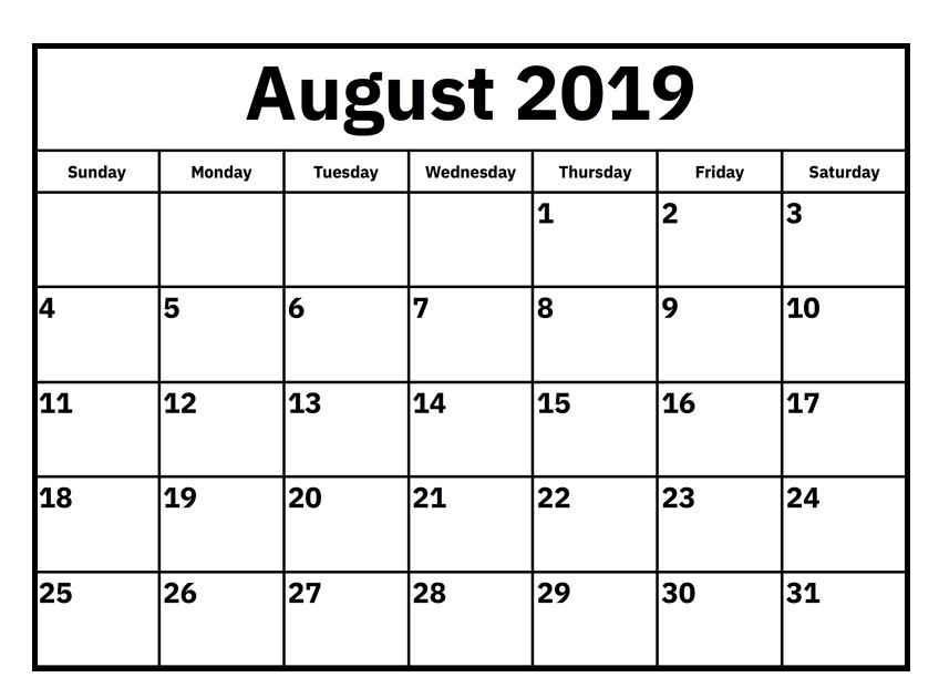 August 2019 Monthly Calendar
