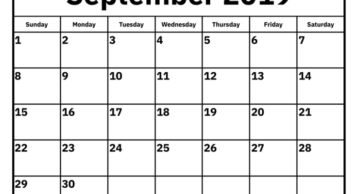 September 2019 Monthly Template