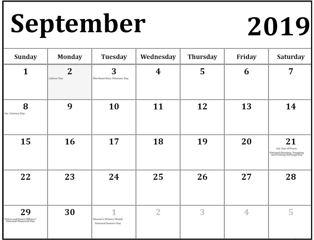 September 2019 Calendar With Holidays