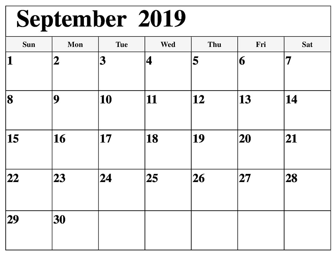 September 2019 Monthly Calendar