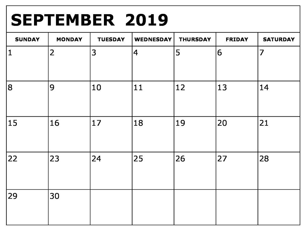 September 2019 Printable Calendar