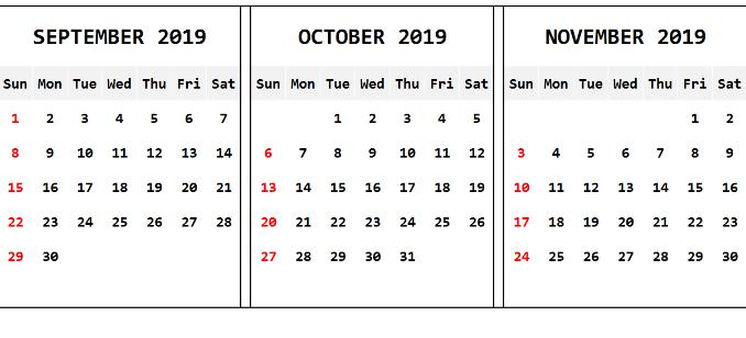 September October 2019 Calendar
