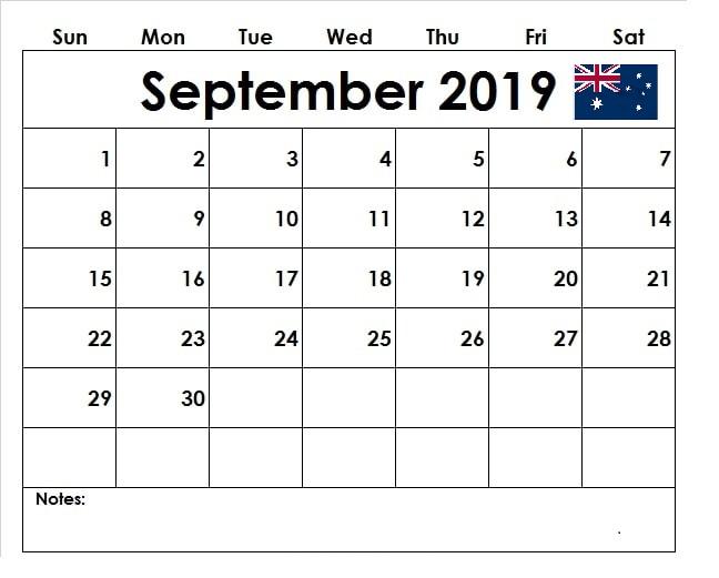 September 2019 Calendar Australia