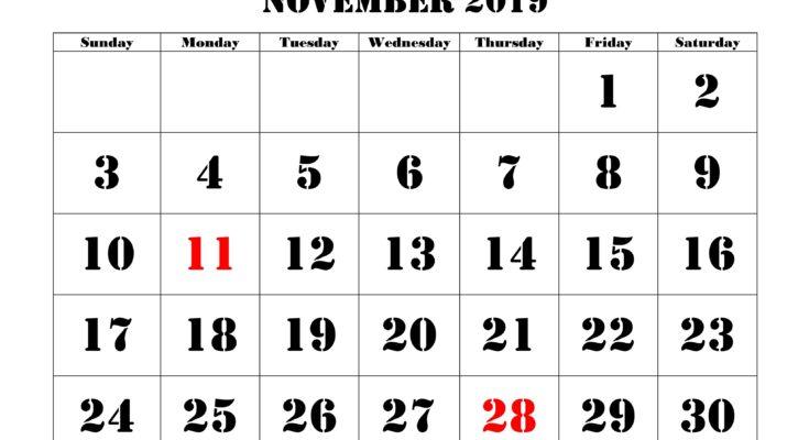 November 2019 Monthly Calendar