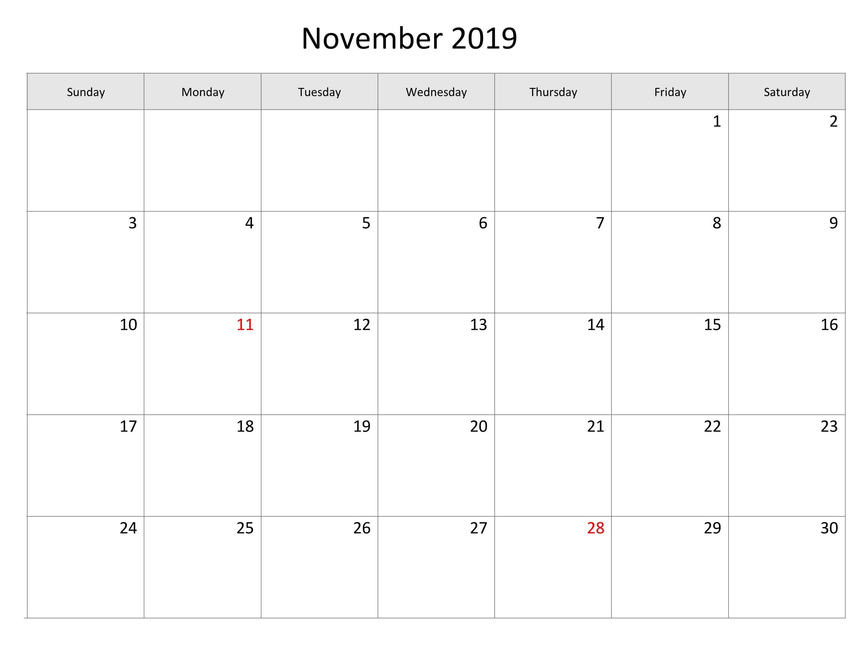 Image Result For November 2019 Monthly Calendar