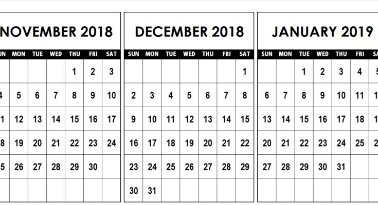 November December 2019 Calendar