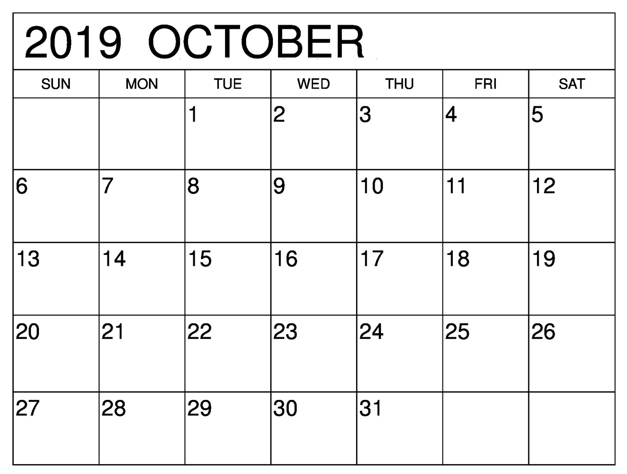 October 2019 Monthly Calendar