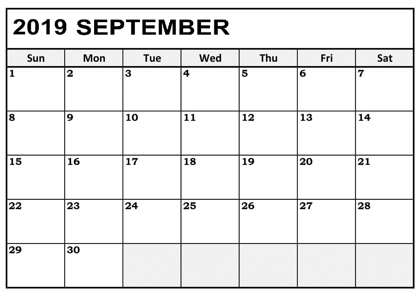 September 2019 Calendar NZ
