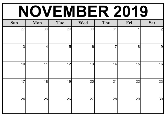 picture about Printable Calendar November named Blank Printable Calendar November 2019 With Traces No cost