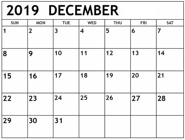 Blank Calendar November 2019