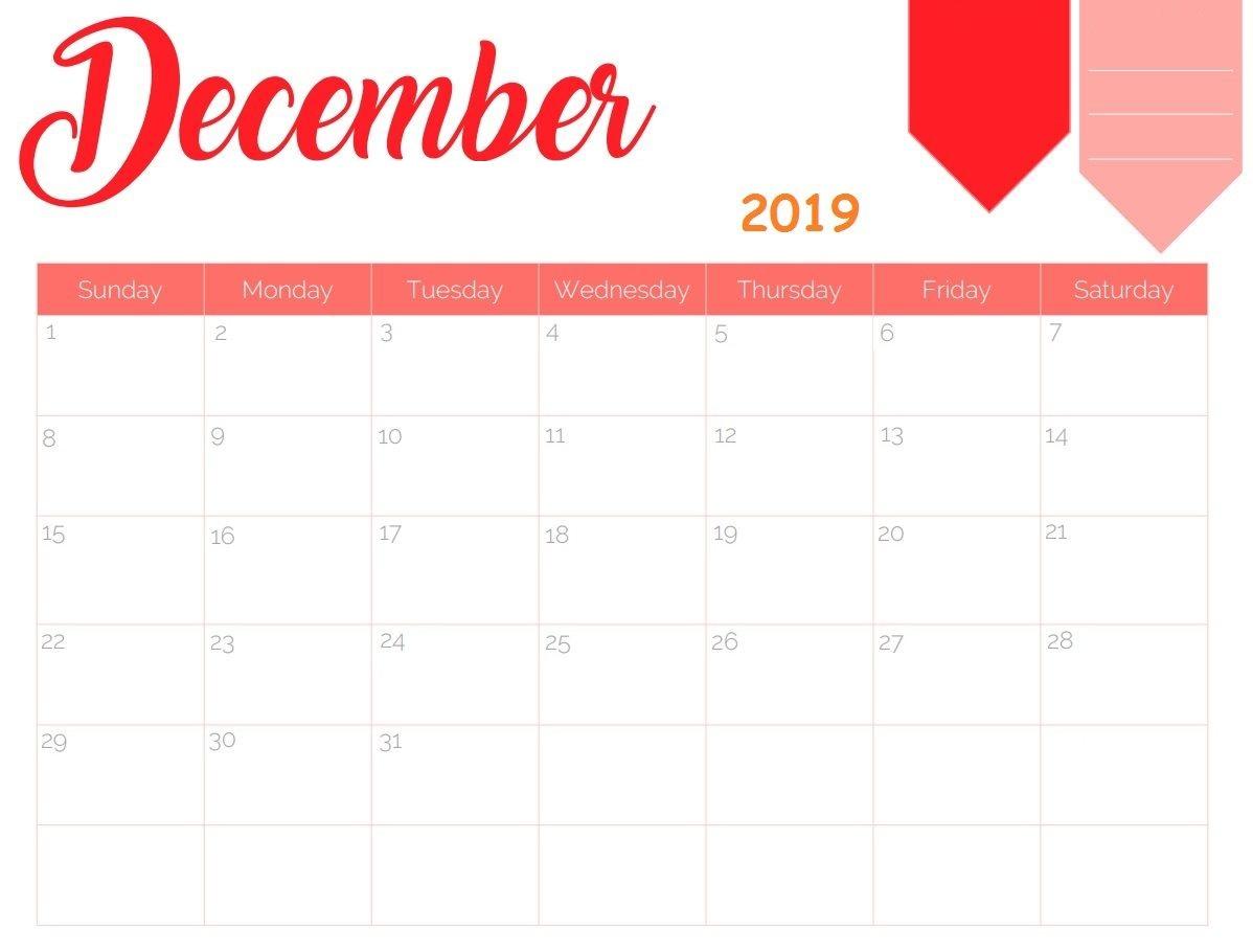 Calendar December 2019 Printable Excel