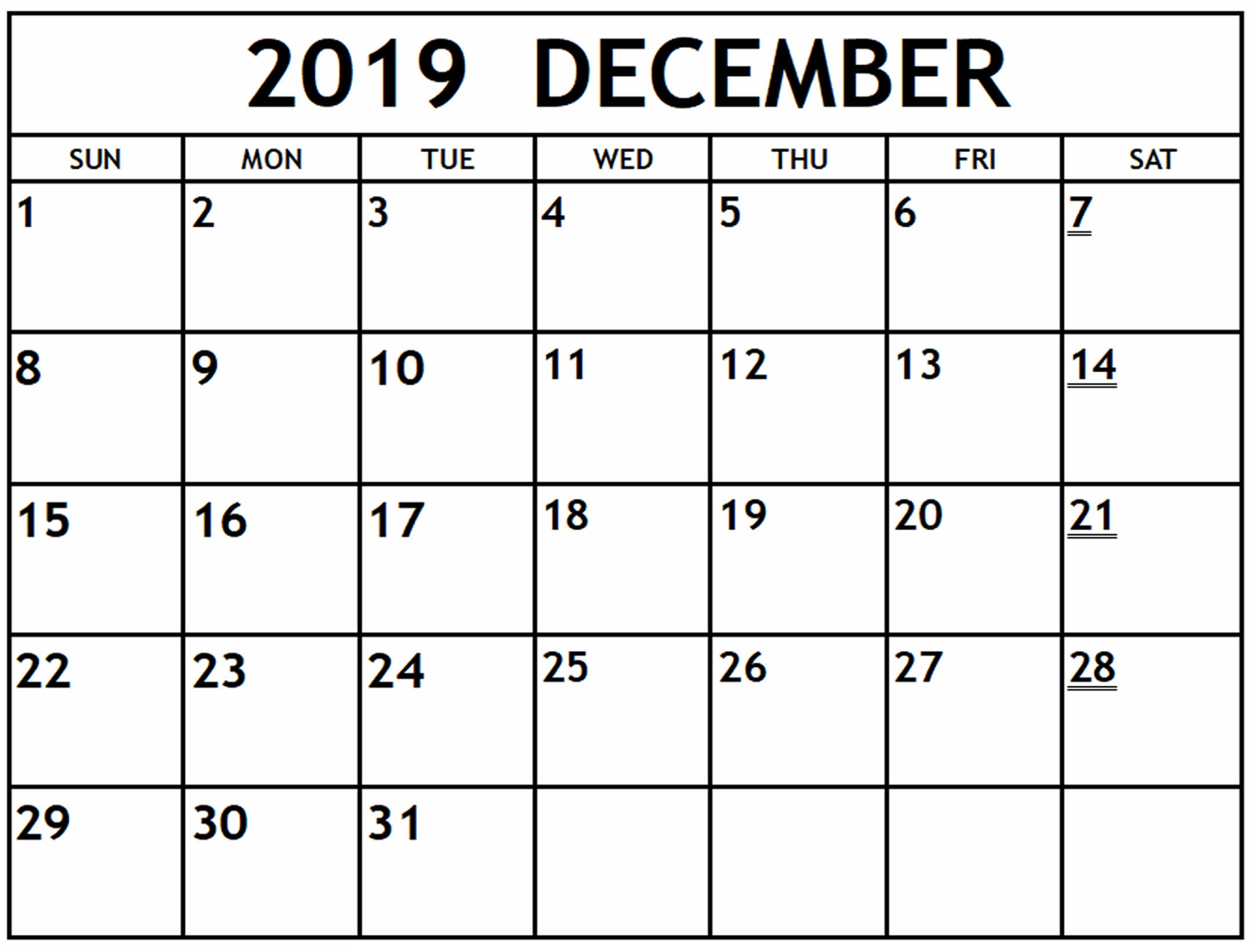 Calendar December 2019 Printable For Desktop