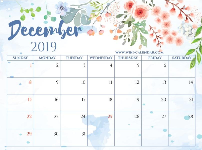 Calendar December 2019 Printable PDF