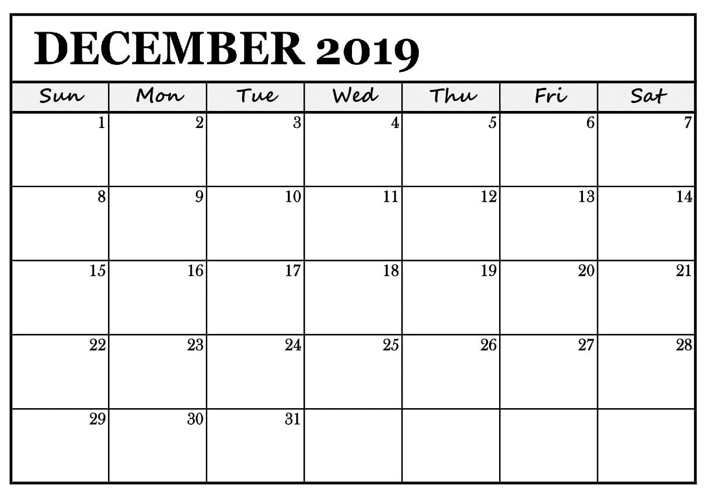 Calendar December 2019 Printable Reminder
