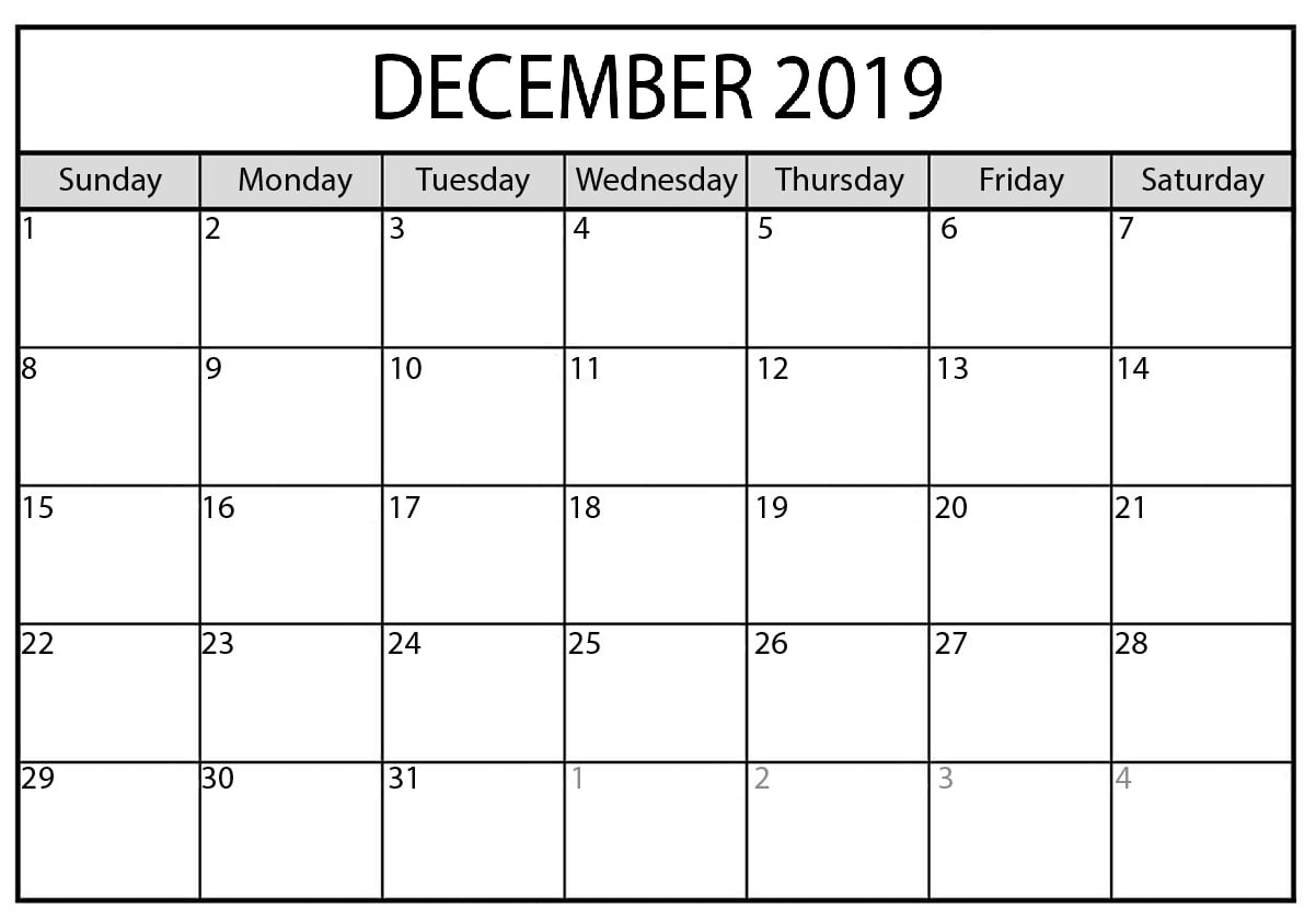 Calendar December 2019 Printable School