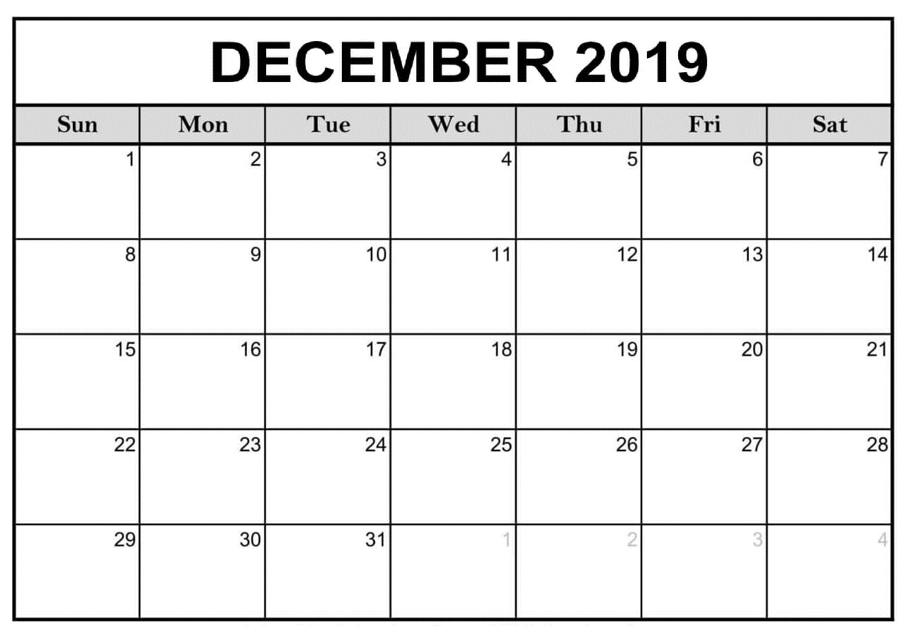 Calendar December 2019 Printable Wallpaper