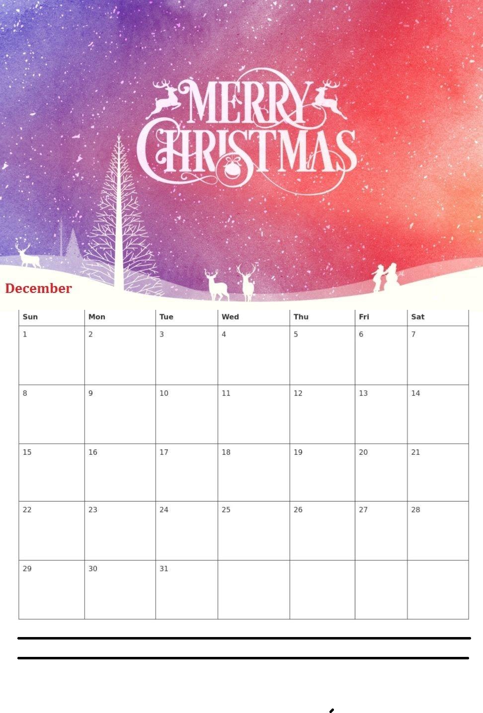 Cute December 2019 Calendar Colorful