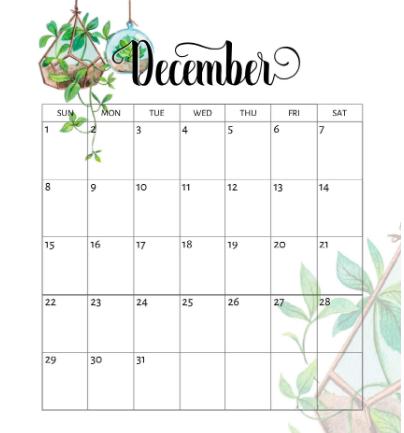 Cute December 2019 Calendar PDF