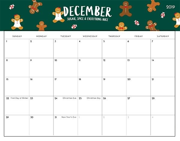 Cute December 2019 Calendar Printable