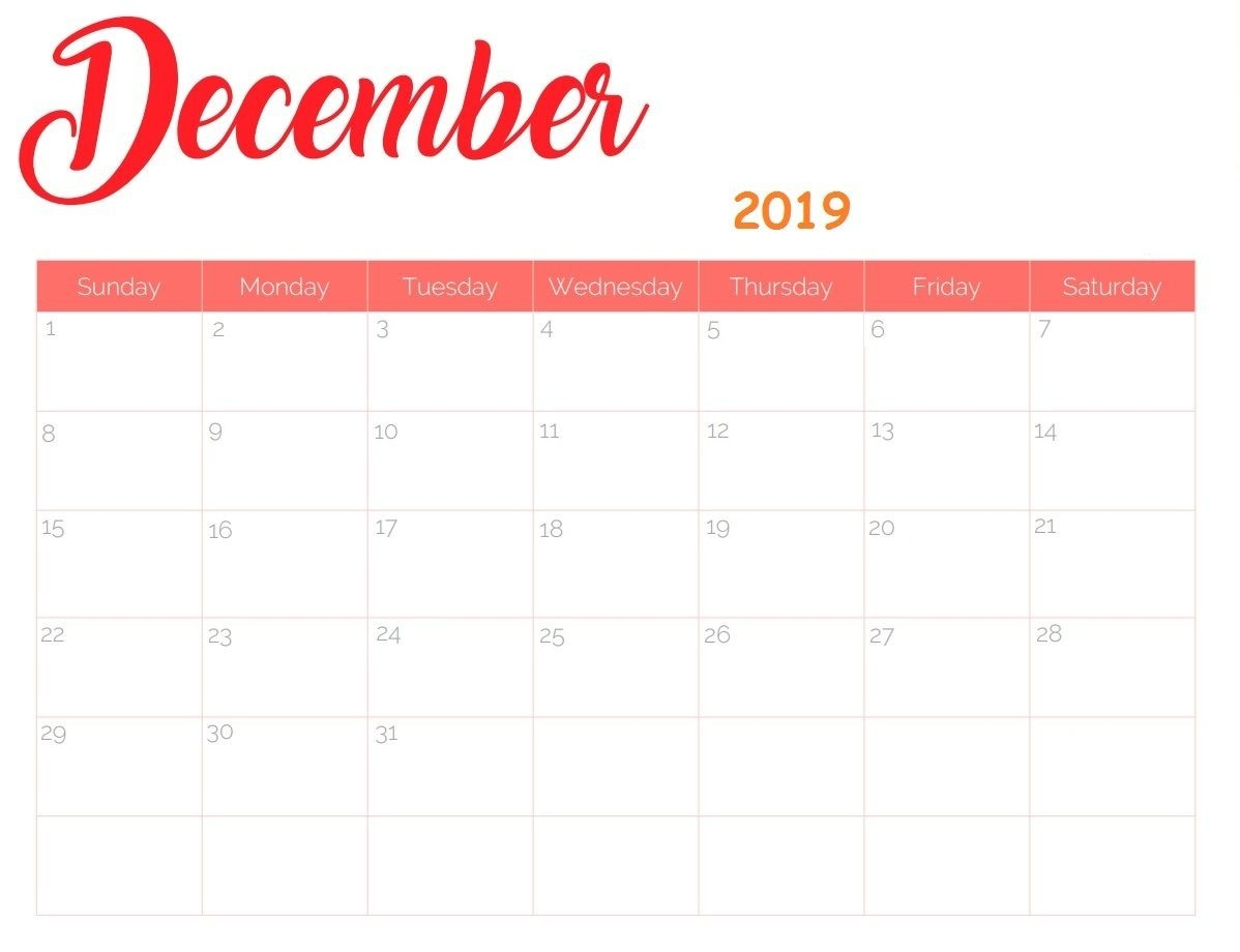 Cute December 2019 Calendar With Line