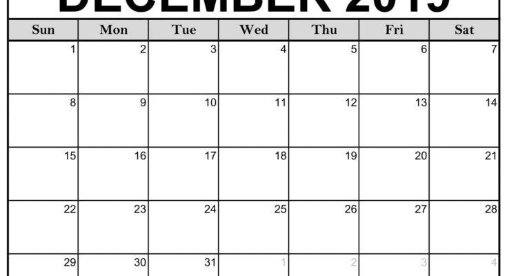 December 2019 Monthly Calendar