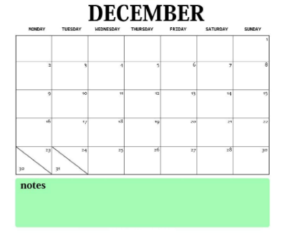 December 2019 Printable Calendar A4