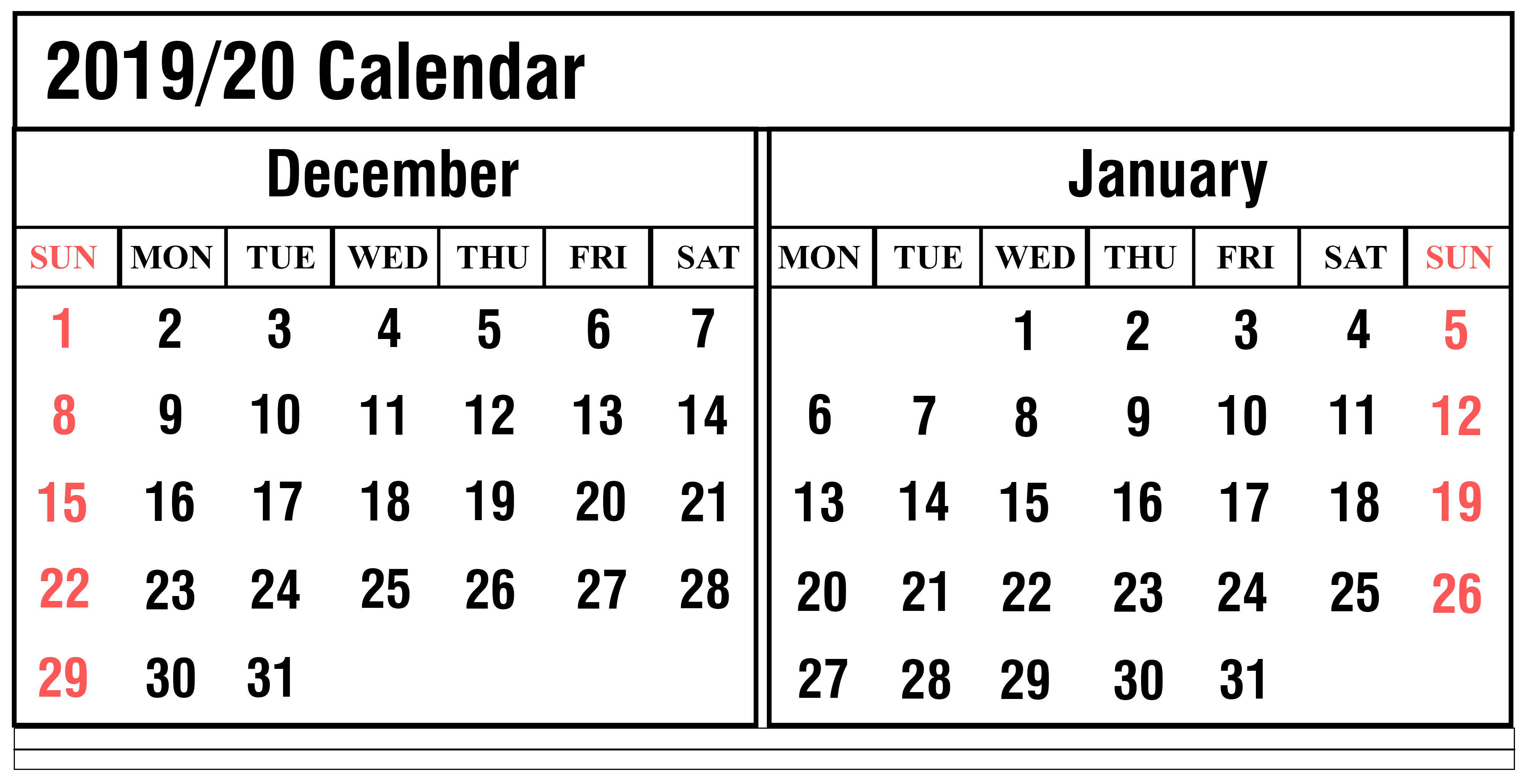 2020 Calendar 2019 Printable.December 2019 Printable Calendar Weekly Calendar For