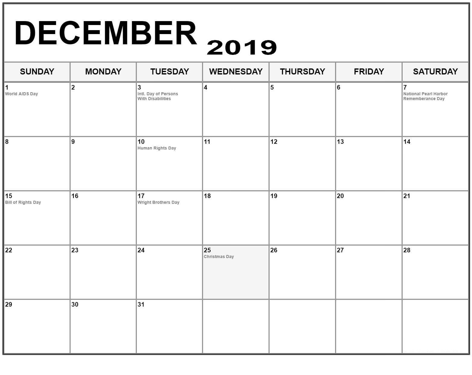 December 2019 Printable Calendar PDF