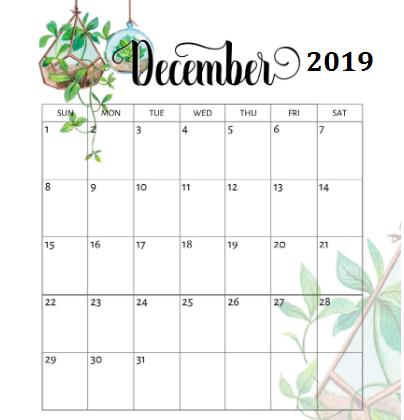 December 2019 Printable Calendar Page