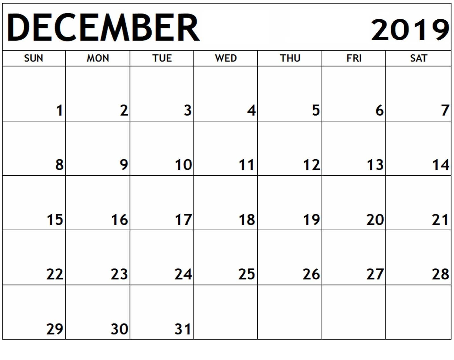 December 2019 Printable Calendar School