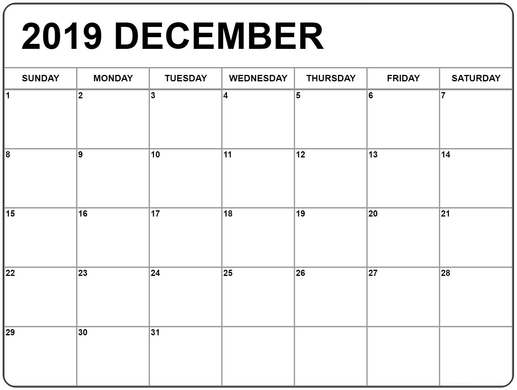 Download Calendar December 2019 Printable