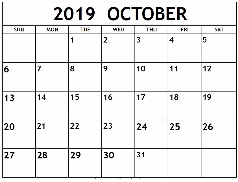 October 2019 Calendar Template Excel