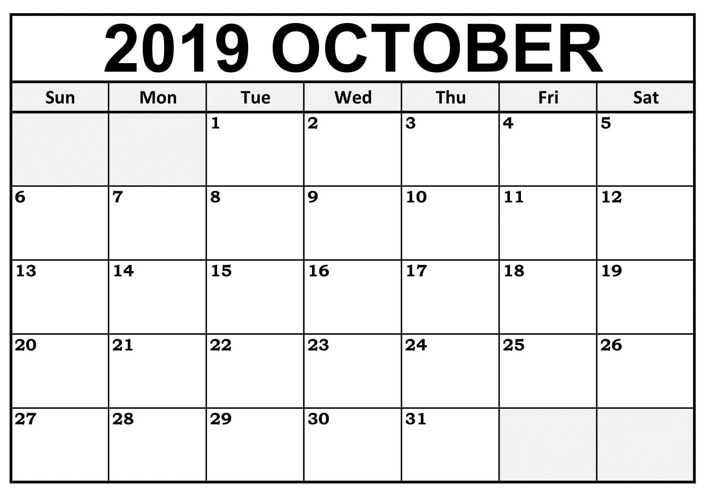October 2019 Calendar Template Printable