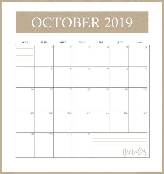 October 2019 Calendar Template USA
